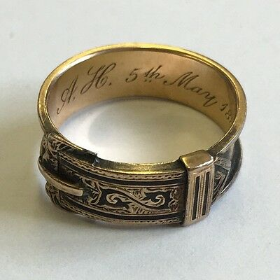 Antique Solid Gold Tested Black Enamel Mourning Buckle Ring 1888 Size L1/2