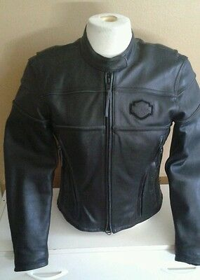 Harley Davidson womens Competition small black leather jacket Reflective race