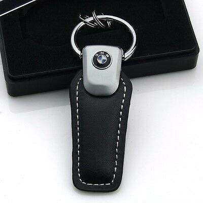 Fashion Leather Key Chain ring zinc alloy Car logo keyChain Key Ring For BMW