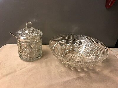 Indiana Glass Royal Brighton Jelly Jar with lid  Spoon & small Serving Bowl