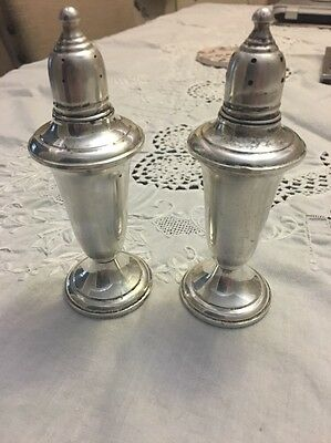 Vintage Empire Sterling Silver Weighted Glass Lined Signed Salt & Pepper Shakers