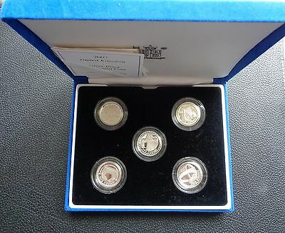 ROYAL MINT 2003-2007 SILVER PROOF 5 x £1 COIN SET BOXED with COA