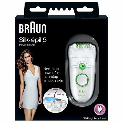 Braun Silk-Epil 5 Power 5780 Epilator With 7 Extras!FREE NEXT DAY DELIVERY!