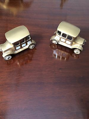 Brass Ornaments/Bookends Cars mother of pearl