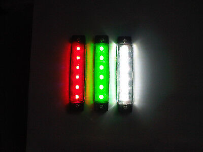 LED Navigation Light set Red Green & a White for Canal Narrow Boat Marine Yacht