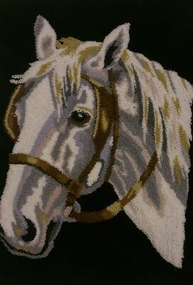 VINTAGE HAND EMBROIDERY - Horses head, over forty years old. Equine, animal.