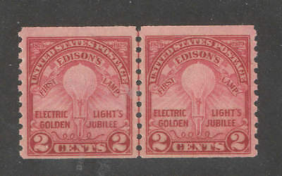 US Sc 656 2c Edison Coil Line Pair Mint Never Hinged CV $110