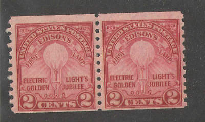 US Sc 656 2c Edison Coil  Pair Mint Never Hinged