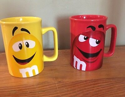 Red and Yellow M&M's 2011 Official Mars Collectors Coffee 2 Mug Cups Licensed TM