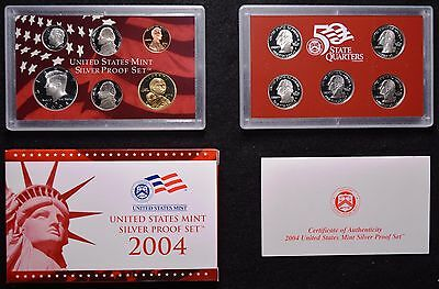 2004 Complete 11 Coin United States Silver Proof Set w/ Box and COA