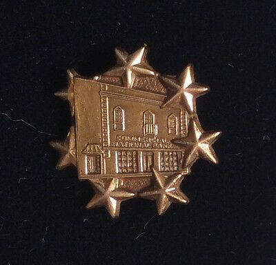 Vtg Commercial National Bank Texas 10 kgf Gold Employee Lapel Pin 7 Star