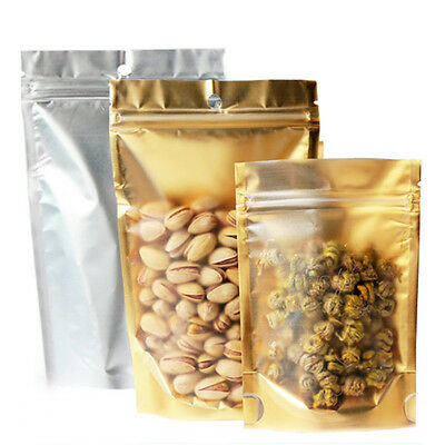 Matte Clear Gold Aluminum Foil Mylar Stand Up Retail Bags Zip Lock Food Pouches