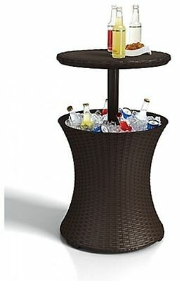 Keter Pacific Rattan Style Outdoor Cool Bar Ice Cooler Table Garden Furniture