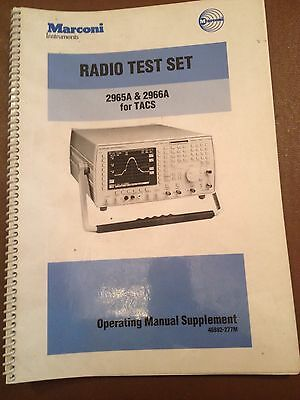 Marconi 2965A & 2966A Radio Test Set For TACS Mobile Phone Operating Manual