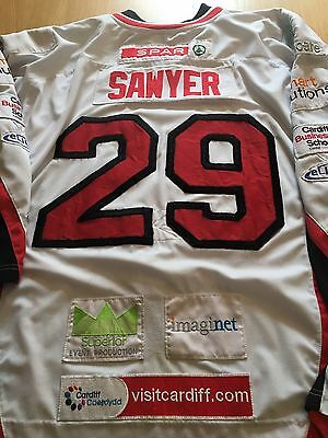 Cardiff Devils Ice Hockey Game Worn Jersey Shirt Justin Sawyer