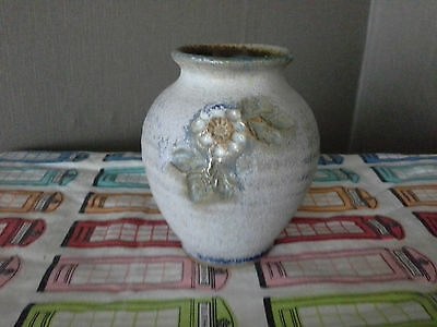 small blue pottery vase
