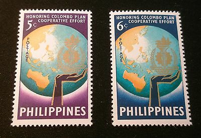 (H063) Philippines set of 2 stamps Colombo Plan Scott 843-844 MLH OG
