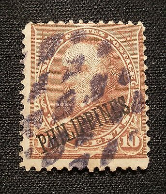 (H037) US Philippines overprint Webster 10c used NG
