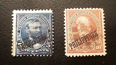 (H258) US Philippines 1899-1901 stamps Scott 216-217 used NG