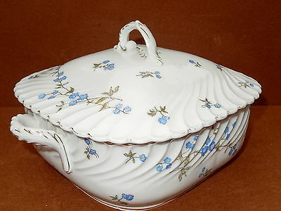 MARX GUTHERZ Carlsbad Austria Covered Vegetable Bowl Casserole Dish Blue Flowers