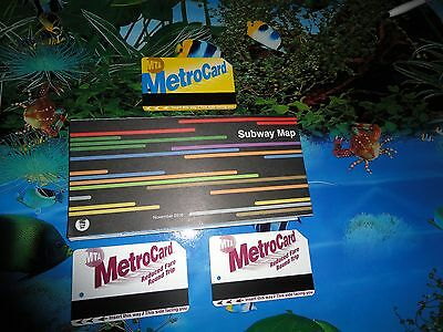 New York City subway map and 3 used metrocards