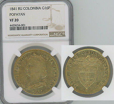 COLOMBIA 1841 .75 oz gold 16 Pesos Liberty head NGC VF20 Scarcer date