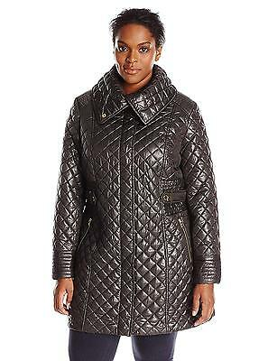 Via Spiga Women's Plus Size Lightweight Quilted Jacket with Side Tabs, Black, 2X