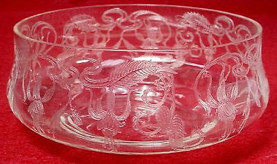 "FUCHSIA etched CRYSTAL BOWL 4-1/2"" x 2"" tall"