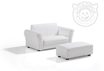 WHITE LAZYBONES KIDS TWIN SOFA Chair/Seat/Armchair/Sofa for Childrens PU Leather