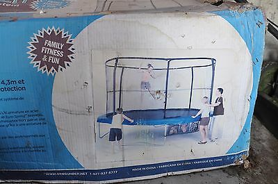 Trampoline 14 ft  with enclosure net, good condition and stored in the box