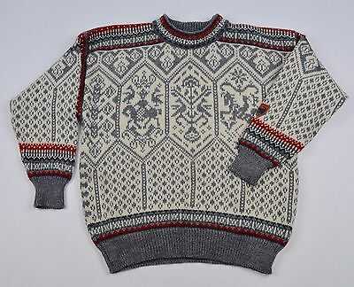 DALE OF NORWAY Men`s Nordic Wool Pullover Jumper Sweater Cardigan Crew Neck Sz M