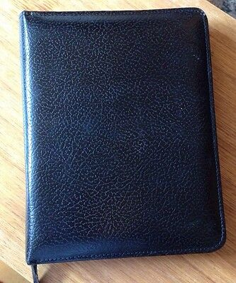 Vintage Black Leather Lk Zip Writing Wallet Stationery Case By Dataday Organiser