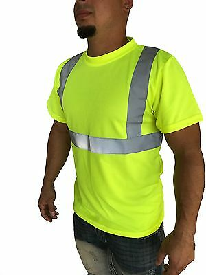 Hi Visibility T-Shirt ANSI Class 2 Reflective Safety Lime Short Sleeve Road Work