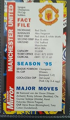Manchester United Fc Sunday Mirror 1996-97 Fixture Card