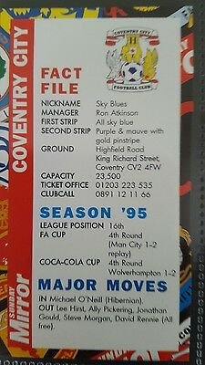 Coventry City Fc Sunday Mirror 1996-97 Fixture Card