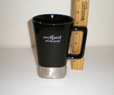 Southwest Airlines Tall Black Ceramic Coffee Mug - by Leeds 16 Oz. ASI#66887