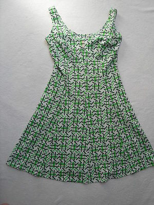 VINTAGE 1970s ABSTRACT PRINT SUN DRESS - MOD / SCOOTER / DOLLYBIRD / RETRO