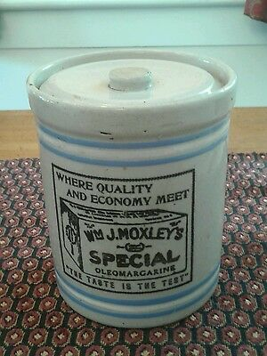 Antique WM MOXLEY Advertising Stoneware Crock Cannister Graham, Braddock, PA