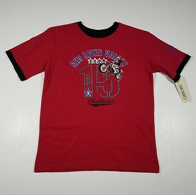 NEW Cherokee Boys Large 10/12 Red T-Shirt ( L ) Short Sleeve Tee NWT