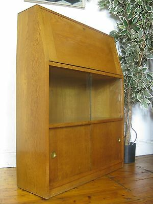 Vintage Retro Mid Century Solid Oak Bureau Desk Bookcase