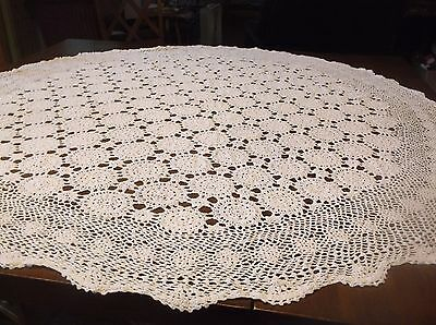 """vtg hand crochet round lace tablecloth, wht. 53"""""""