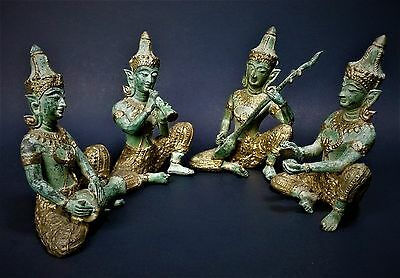 Thai Siam Gilded Bronze Musician Statues- Set of 4-Vintage Thailand