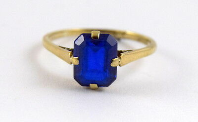 Vintage Art Deco  9ct Gold Sapphire Blue Spinel Solitaire 3 ct Ring Size S  US 9