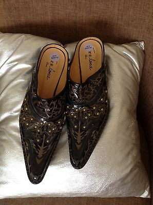 Brown studded leather cowboy boots mules 6 Freelance