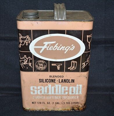 VINTAGE  Fiebings Blended Silicone Lanolin Saddle Oil 1 Gallon Can 3/4 Full