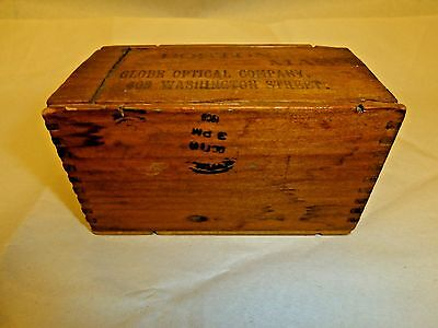 Vintage 1909 Wooden Box - Lens Delivery Box - Globe Optical - Boston Mass.