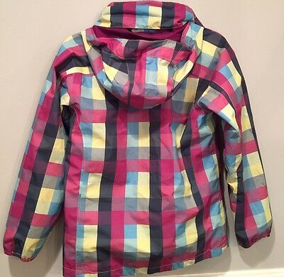 The North Face Hyvent Hooded Rain Jacket Purple Plaid Girls L 14/16