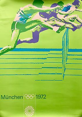 OTL AICHER- 110m HURDLES VINTAGE 1972 GERMANY MUNICH OLYMPICS TRACK FIELD POSTER