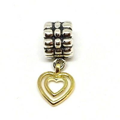 Authentic Pandora Sterling Silver & 14K Gold Double Heart Clip Charm