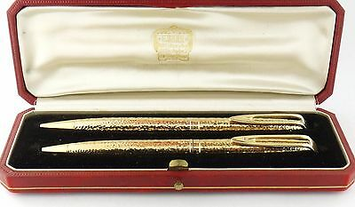 Vintage Cartier by Waterman 18K Gold Pen & Pencil Writing Set in Original Box